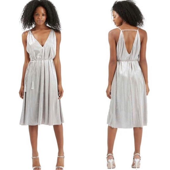 Topshop Dresses & Skirts - TOPSHOP Strappy Metallic Dress Size 6